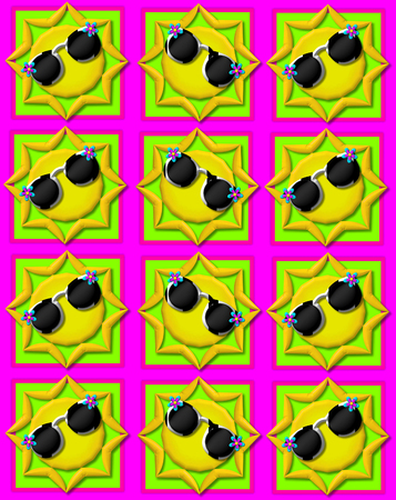 hot pink: Hot pink background is decorated with colorful squares.  Squares are topped with yellow sun wearing sunshades.