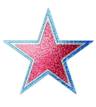Abstract star has three layers of metallic color of red, white and blue.  Background is white. Stock fotó