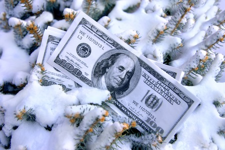 Stack of 100 dollar bills lay half buried in the snow.  Image could represent cold cash and frozen assets.