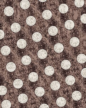 sponged: Background illustration shows abstract sponge painting surrounding tan dots circled by white.