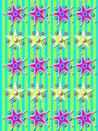 purple stars: Aqua and green striped background is covered with rows of purple stars surrounded by balls and beads.