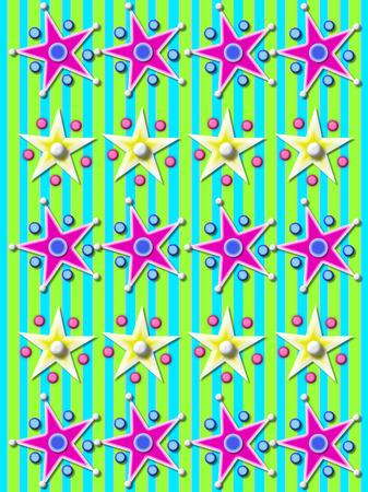 estrellas moradas: La aguamarina y el fondo de rayas verde está cubierta con filas de las estrellas púrpuras rodeadas por bolas y perlas.