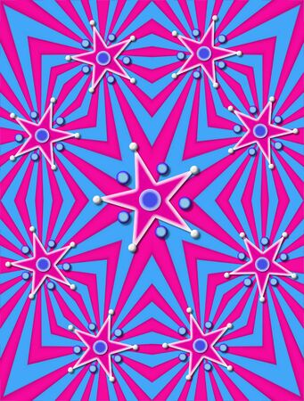 angled: Angled lines of blue and pink decorate background.  Stars in pink and white are surrounded with 3D circles and beads.