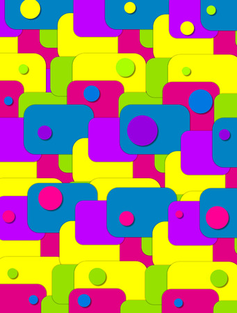 hot pink: Background image is filled with rectangles in bright green, blue, purple, yellow and hot pink.  Colorful circles top rectangles.