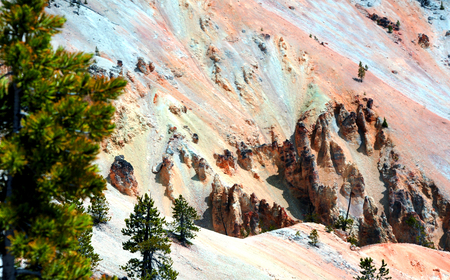 attest: Dry sandstone monoliths attest to the force of erosion on the canyon lands of the Grand Canyon of the Yellowstone in Yellowstone National Park.