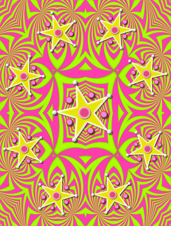 angled: Angled lines of green and pink decorate background.  Stars in yellow and white are surrounded with 3D circles and beads.
