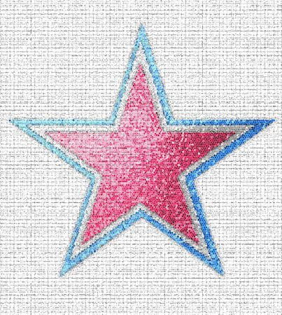 Large star is laid out in a mosaic of red, white and blue.  Background texture resembles woven fabric. Stock Photo