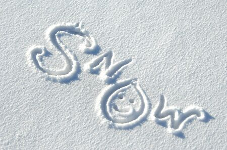 replaces: The word snow is handwritten on a fresh layer of snow.  Smiley face replaces the 0.
