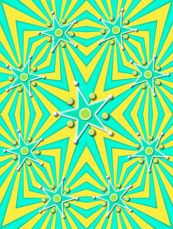 angled: Angled lines of green and yellow decorate background.  Stars in green and yellow are surrounded with 3D circles and beads. Stock Photo