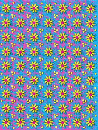 three layer: 3D background has three layer flowers and yellow polka dots.  Smudges of pink and blue fill background.