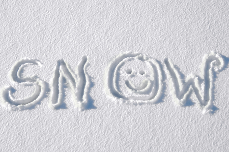 replaces: The word snow is handwritten onto a fresh layer.  Smiling face replaces the 0.