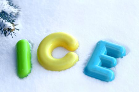 single word: Message, composed of colorful plastic letters, with the single word ice represents the metaphor ice cold.