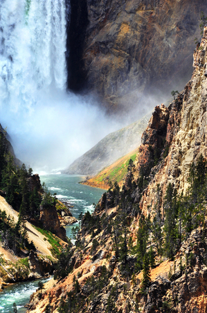 canyon walls: Bottom of Lower Falls in Yellowstone National Park has thunderous spray and crashing water.  Yellowstone River curves and twists its way through the steep and high canyon walls.