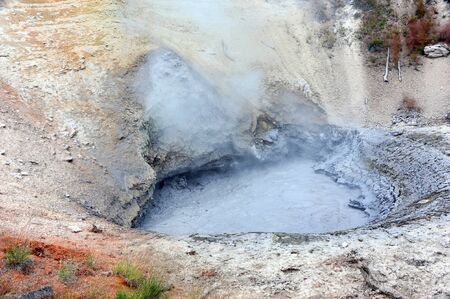 hydrothermal: Mud volcano steams in Yellowstone National Park in Wyoming.  Sulphur and steam rise in vapors from cauldron.