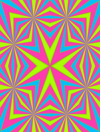 angled: Angled lines of green, blue and pink decorate background.  Geometric lines meet in center of image. Stock Photo