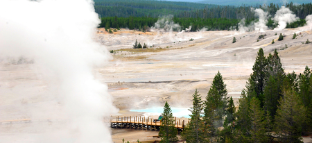 safer: Construction of new, and safer, walkway through Norris Geyser Basin continues in Yellowstone National Park. Stock Photo