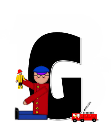 reflects: The letter C, in the alphabet set Children Play Time, is decorated a child holding toys that reflects the many things from childhood, including, yoyo, trucks, cars, dolls, sports equipment and stuffed toys.