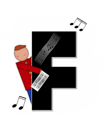 scores: The letter F, in the alphabet set Children Music is black and outlined with white.  Child is surrounded by musical notes.  Alphabet set includes guitars and musical scores.