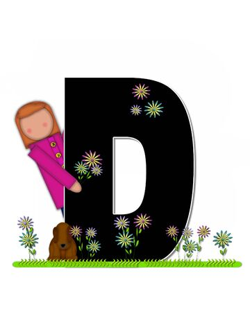picking: The letter D, in the alphabet set Children Picking Flowers, is black outlined with white.  Children, pet dog, and flowers decorate letter.