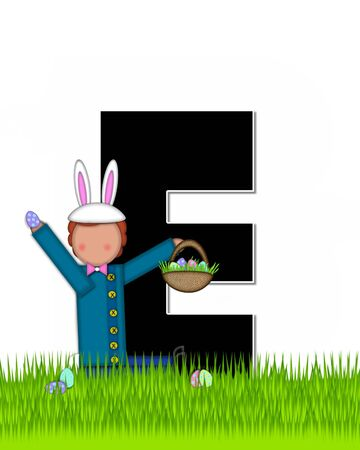 tall grass: The letter E, in the alphabet set Children Easter Eggs is black and trimmed with white.  Child with basket hunts for Easter eggs in the tall grass. Stock Photo