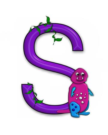 """De letter S, in het alfabet set 'Dino Roaring, """"is versierd met jungle wijnstokken en een 3D-dinosaurus."""
