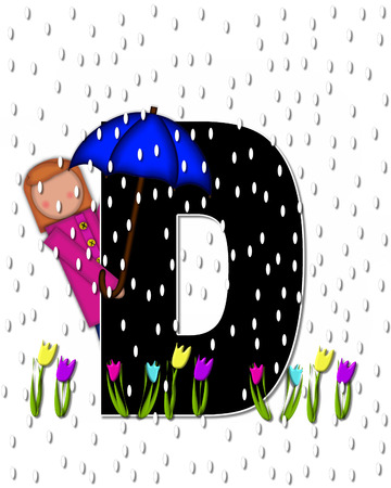 rain drops: The letter D, in the alphabet set Children April Showers is black and trimmed with white.  Child holds unbrella while rain drops fall on her and Spring tulips.