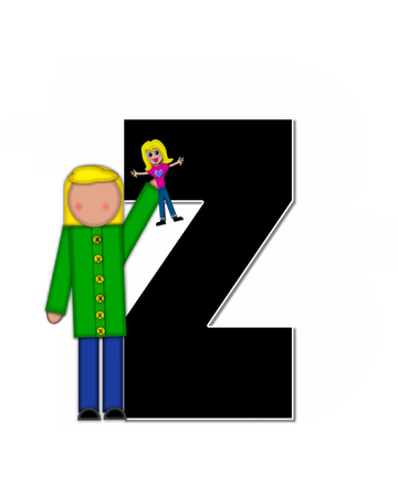 reflects: The letter Z, in the alphabet set Children Play Time, is decorated a child holding toys that reflects the many things from childhood, including, yoyo, trucks, cars, dolls, sports equipment and stuffed toys.