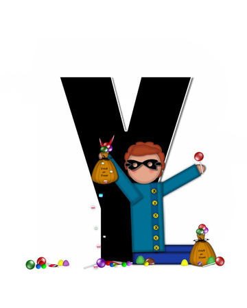 The letter Y, in the alphabet set Children Trick or Treat is decorated a child holding a bag of trick or treat candy.  Candy sits at childs feet and child wears a black, Halloween mask.