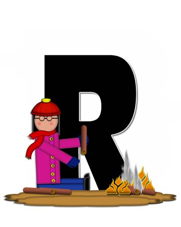 The letter R, in the alphabet set Children Camp Fire is black and outlined with white.  Children, are dressed in cap, scarf and mittens and at their feet is a camp fire.