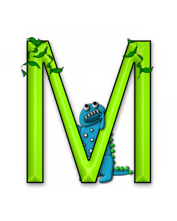 jungle vines: The letter M, in the alphabet set Dino Roaring, is decorated with jungle vines and a 3D dinosaur.