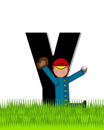 The letter Y, in the alphabet set Children Baseball is black and trimmed with white.  Child is playing baseball in a field of green grass.  Equipment includes bat, ball and glove. Stock Photo
