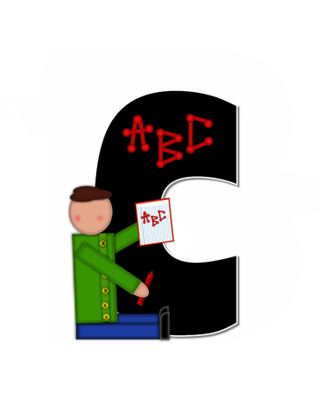 gradeschool: The letter C, in alphabet set Children ABCs is black.  Letters are decorated with colorful ABCs.  Child holds crayon and homework paper with the letters ABC on it. Stock Photo