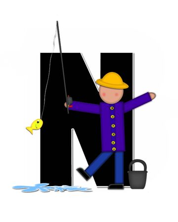 The letter N, in the alphabet set Children Gone Fishing, is black outlined with white.  Children, rod and reel, bucket, water and fish decorate letter.