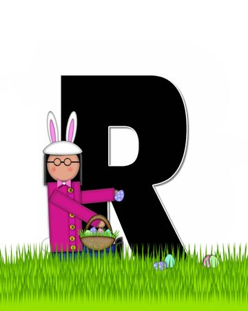 tall grass: The letter R, in the alphabet set Children Easter Eggs is black and trimmed with white.  Child with basket hunts for Easter eggs in the tall grass. Stock Photo