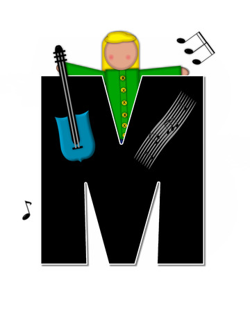 child holding sign: The letter M, in the alphabet set Children Music is black and outlined with white.  Child is surrounded by musical notes.  Alphabet set includes guitars and musical scores.
