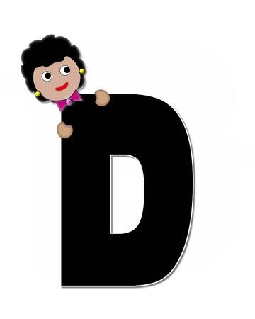 peek: The letter D, in the alphabet set Childlike Expressions, is black and outlined with white.  Children peek around edges of letters with a collection of different smiles and expressions.