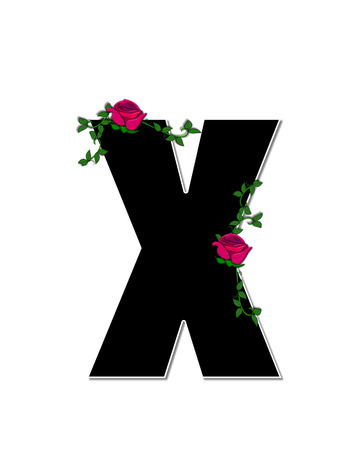 spread around: The letter X, in the alphabet set Rose Trellis, is black with white outline.  Roses and vines grow and spread around letter. Stock Photo