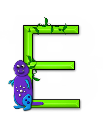 jungle vines: The letter E, in the alphabet set Dino Roaring, is decorated with jungle vines and a 3D dinosaur.
