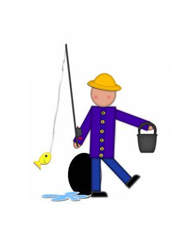 """seau d eau: Période, dans l'ensemble de l'alphabet """"Pêche Enfants Gone,"""" est noir décrit avec le blanc. Les enfants, canne et moulinet, seau, eau et lettre de décorer des poissons."""