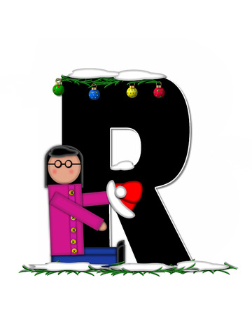 boughs: The letter R, in the alphabet set Children Christmas Ornaments, is decorated snow and pine boughs.  Child has Santa Claus hat nad decorates leter. Stock Photo