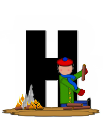 The letter H, in the alphabet set Children Camp Fire is black and outlined with white.  Children, are dressed in cap, scarf and mittens and at their feet is a camp fire.