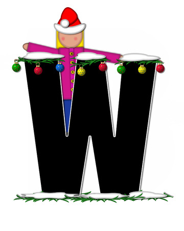 boughs: The letter W, in the alphabet set Children Christmas Ornaments, is decorated snow and pine boughs.  Child has Santa Claus hat nad decorates leter.