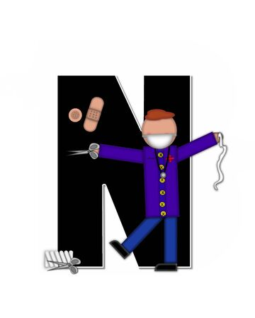 cuff: The letter N, in alphabet set Children Healthcare is black.  Letters are decorated with Physician, perscription and medical equipment such as thermometer, stethoscope, and blood pressure cuff. Stock Photo