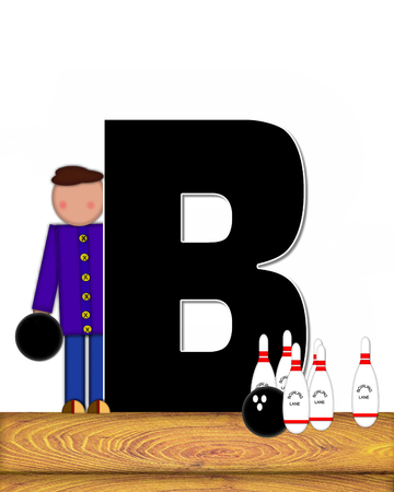 b ball: The letter B, in the alphabet set Children Bowling Lane, is decorated wooden floor, bowling pins and bowling ball.  Child is learning the sport of bowling. Stock Photo