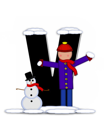 snow cap: The letter V, in the alphabet set Children Building Snowman is black and outlined with white.  Child holds wearing cap, scarf and mittens, holds snow ready to pack onto his snowman.
