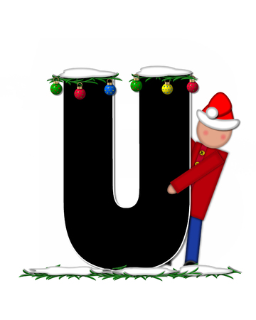 boughs: The letter U, in the alphabet set Children Christmas Ornaments, is decorated snow and pine boughs.  Child has Santa Claus hat nad decorates leter. Stock Photo