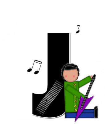 scores: The letter J, in the alphabet set Children Music is black and outlined with white.  Child is surrounded by musical notes.  Alphabet set includes guitars and musical scores.