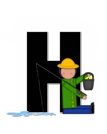 """seau d eau: La lettre H, dans l'ensemble de l'alphabet """"Pêche Enfants Gone,"""" est noir décrit avec le blanc. Les enfants, canne et moulinet, seau, eau et lettre de décorer des poissons."""