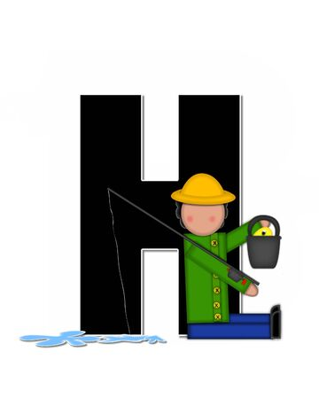 seau d eau: The letter H, in the alphabet set Children Gone Fishing, is black outlined with white.  Children, rod and reel, bucket, water and fish decorate letter.