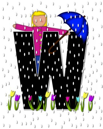 rain drops: The letter W, in the alphabet set Children April Showers is black and trimmed with white.  Child holds unbrella while rain drops fall on her and Spring tulips. Stock Photo
